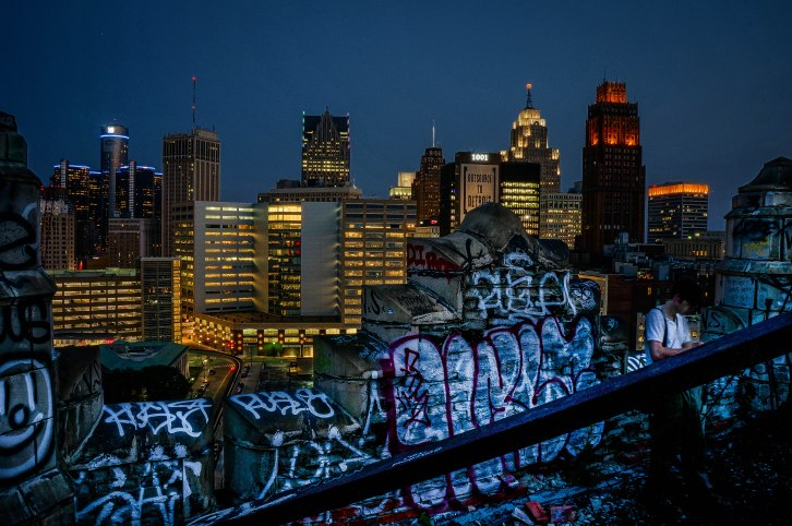 Detroit from an Abandoned Rooftop