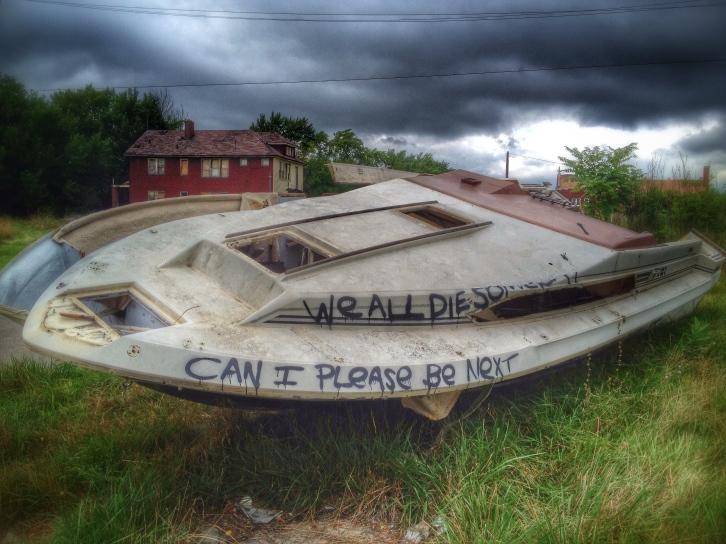 Abandoned Boat, Mack Ave., Detroit, MI